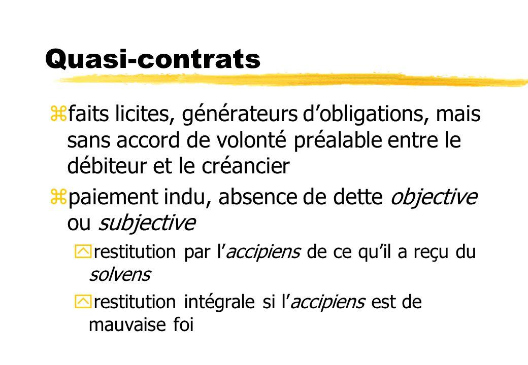Quasi-contrats faits licites, générateurs d'obligations, mais sans accord de volonté préalable entre le débiteur et le créancier.