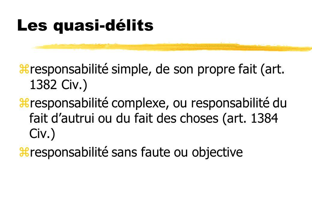 Les quasi-délits responsabilité simple, de son propre fait (art. 1382 Civ.)