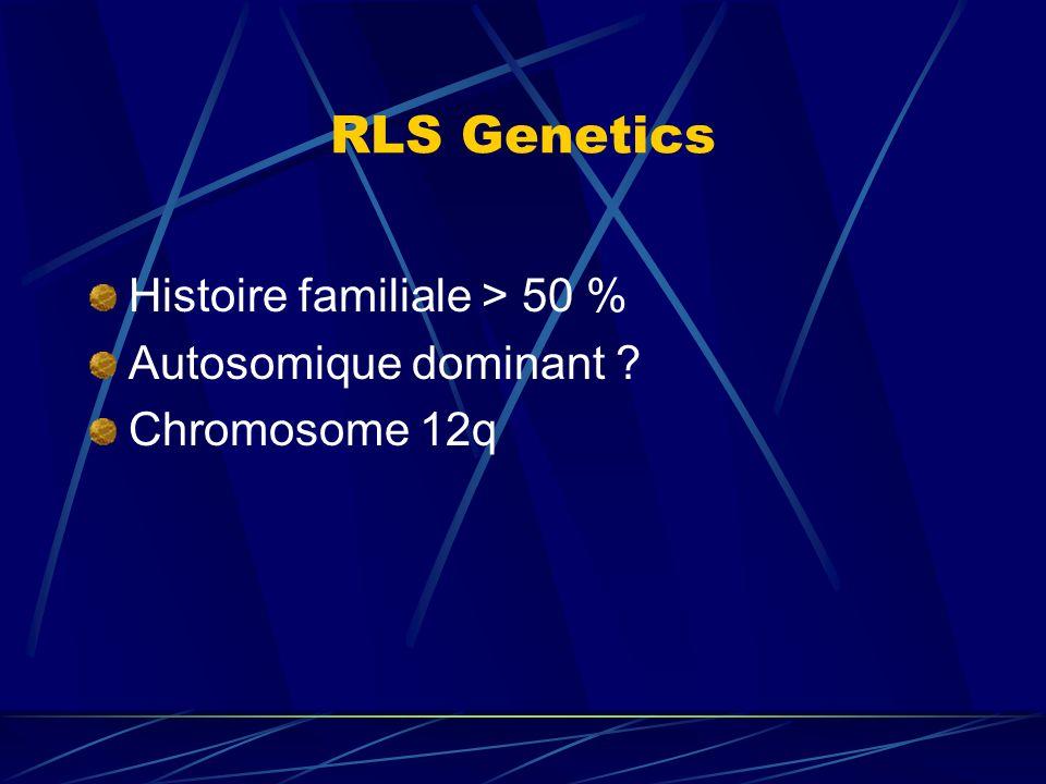 RLS Genetics Histoire familiale > 50 % Autosomique dominant