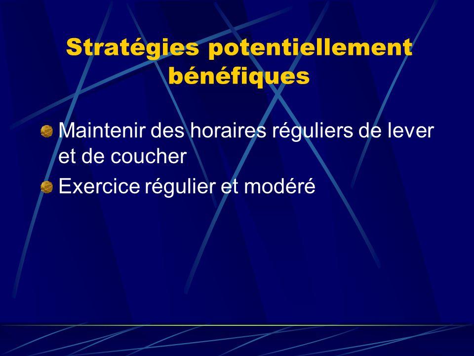 Stratégies potentiellement bénéfiques