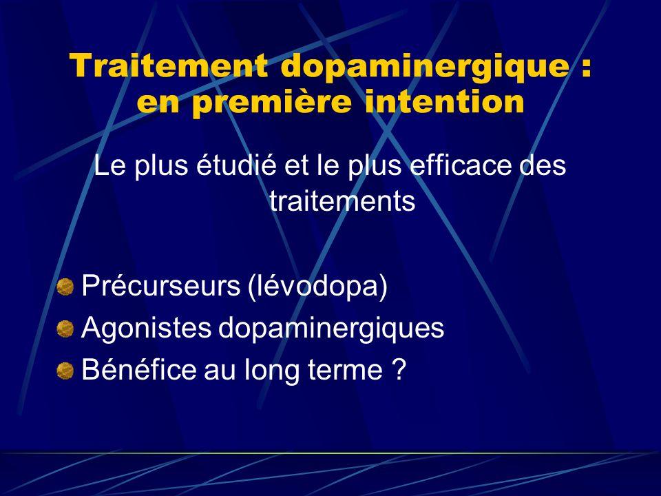 Traitement dopaminergique : en première intention