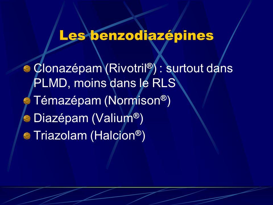 Les benzodiazépines Clonazépam (Rivotril®) : surtout dans PLMD, moins dans le RLS. Témazépam (Normison®)