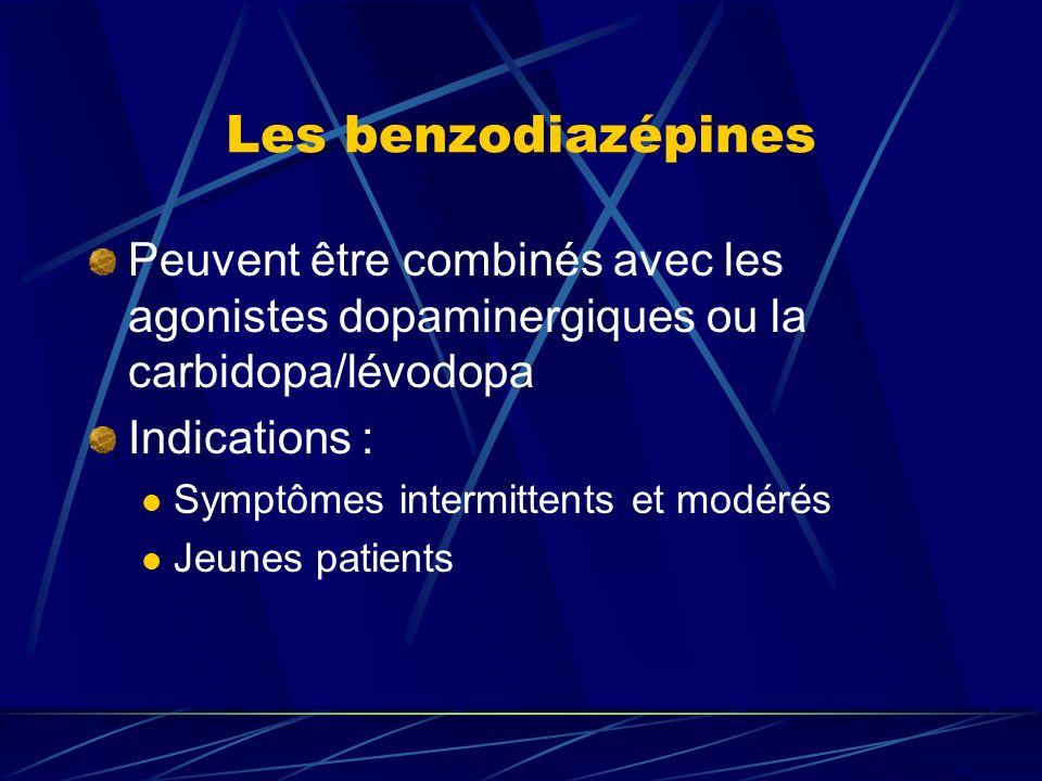 Les benzodiazépines Peuvent être combinés avec les agonistes dopaminergiques ou la carbidopa/lévodopa.