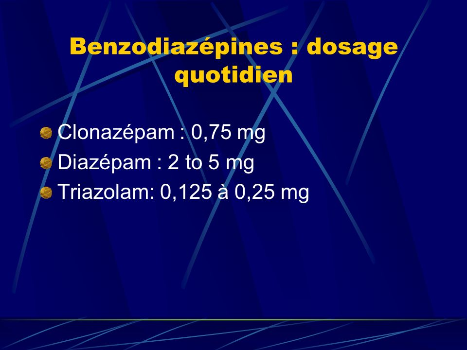 Benzodiazépines : dosage quotidien