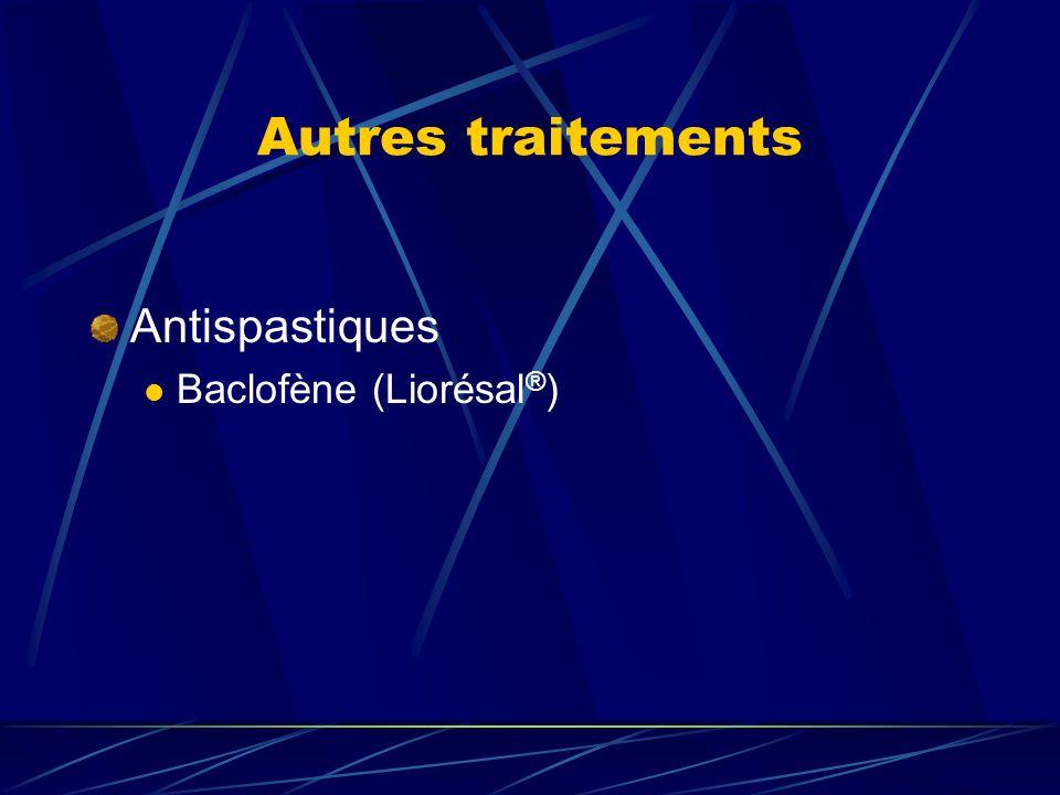 Autres traitements Antispastiques Baclofène (Liorésal®)