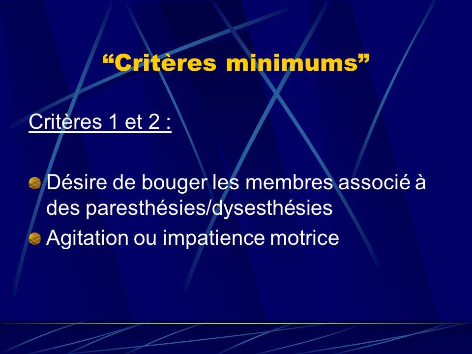 Critères minimums Critères 1 et 2 :
