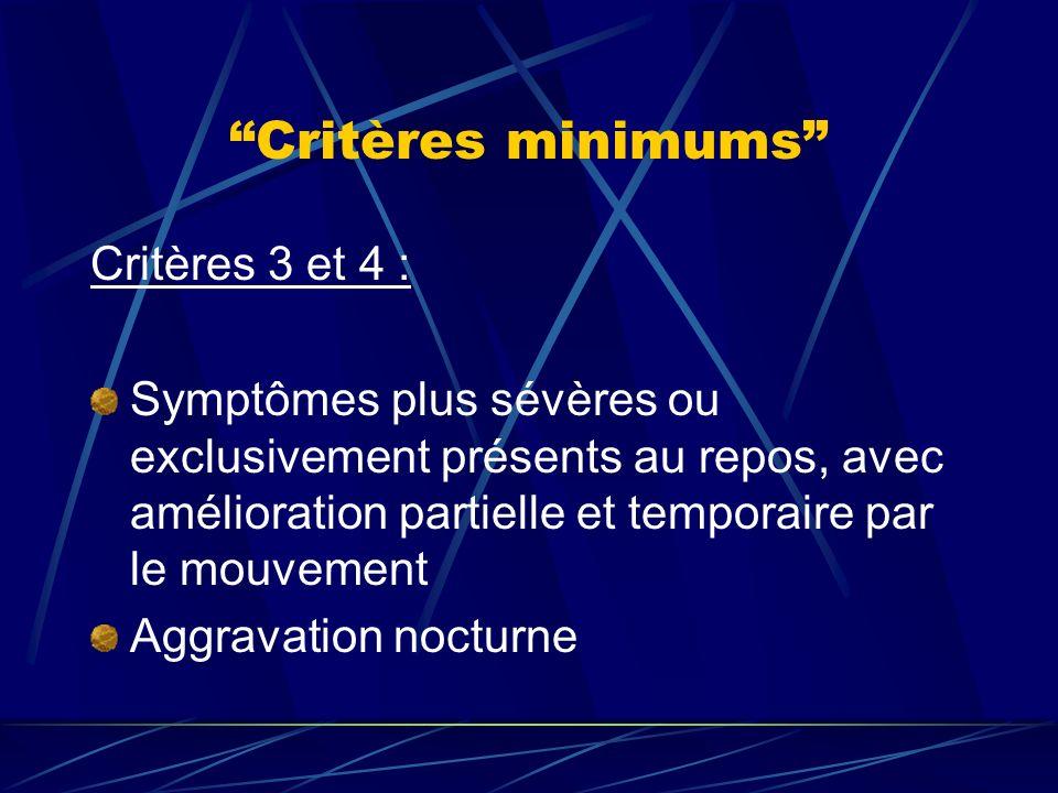 Critères minimums Critères 3 et 4 :