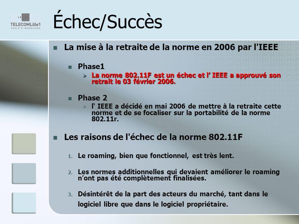 Échec/Succès La mise à la retraite de la norme en 2006 par l IEEE