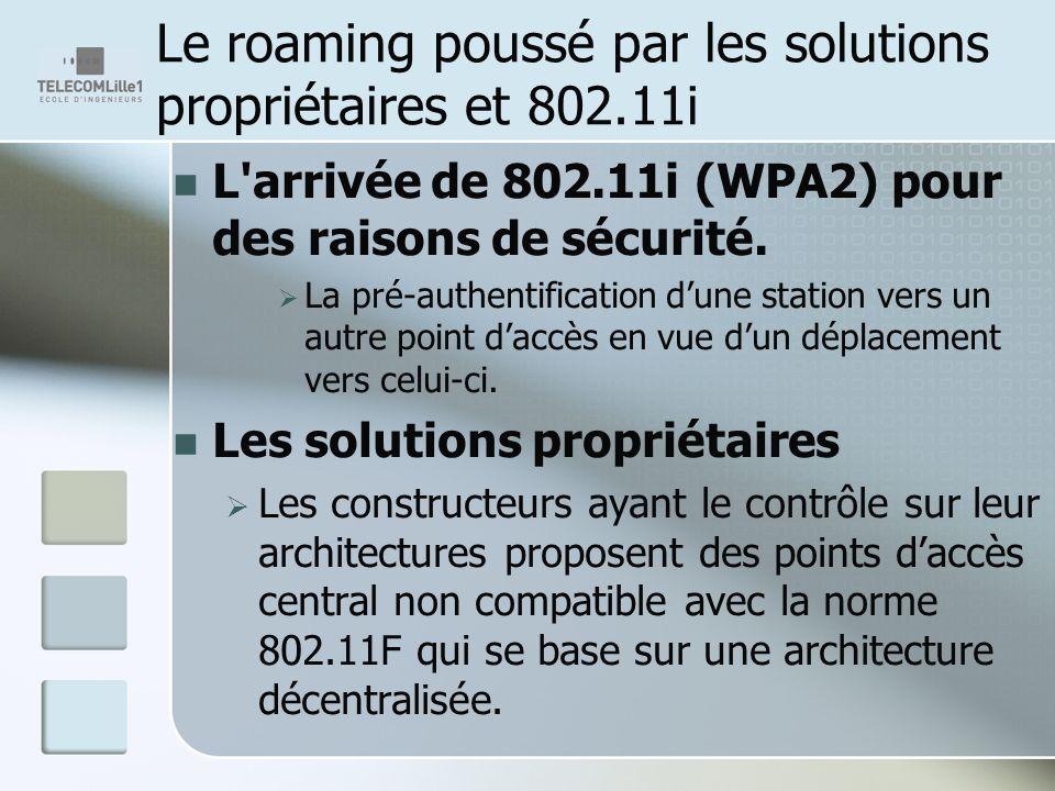 Le roaming poussé par les solutions propriétaires et 802.11i