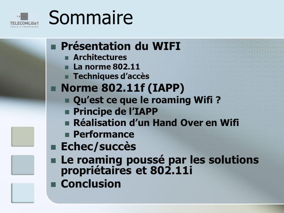 Sommaire Présentation du WIFI Norme 802.11f (IAPP) Echec/succès