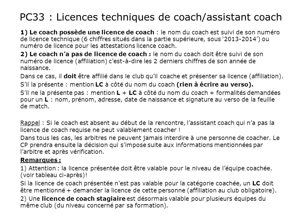 PC33 : Licences techniques de coach/assistant coach