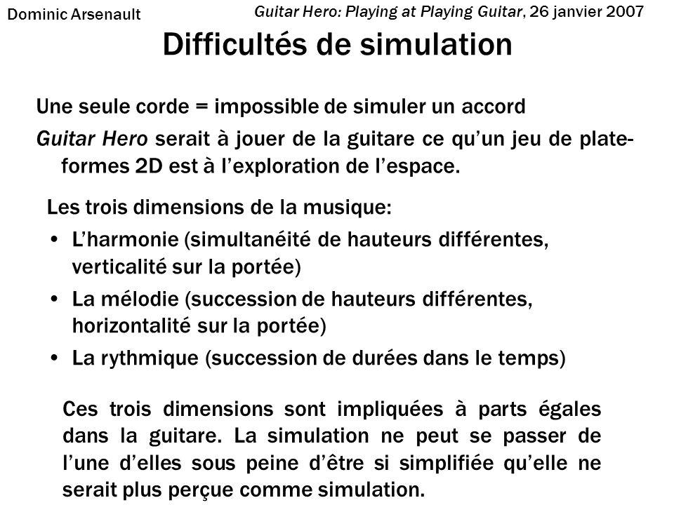 Difficultés de simulation