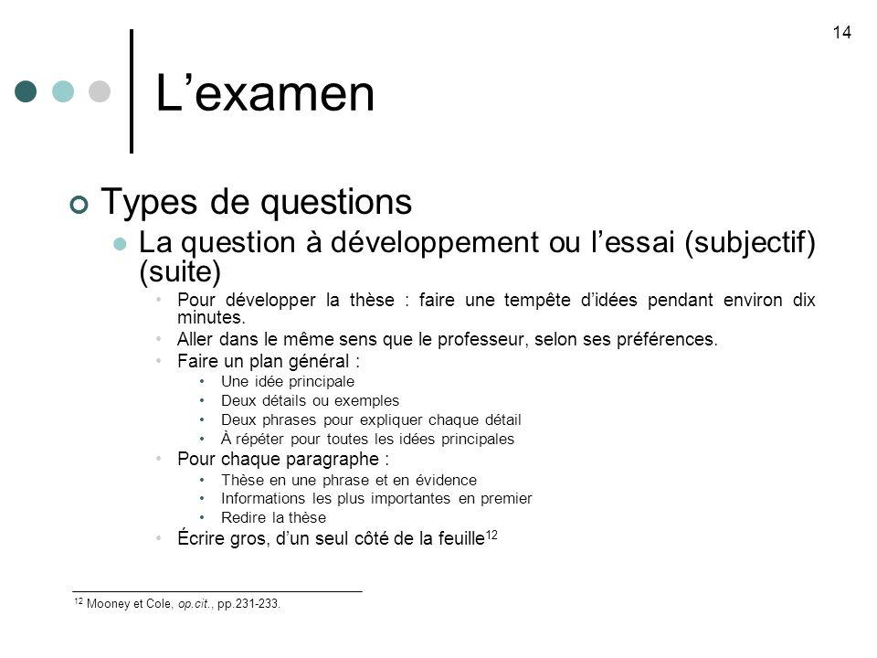 L'examen Types de questions