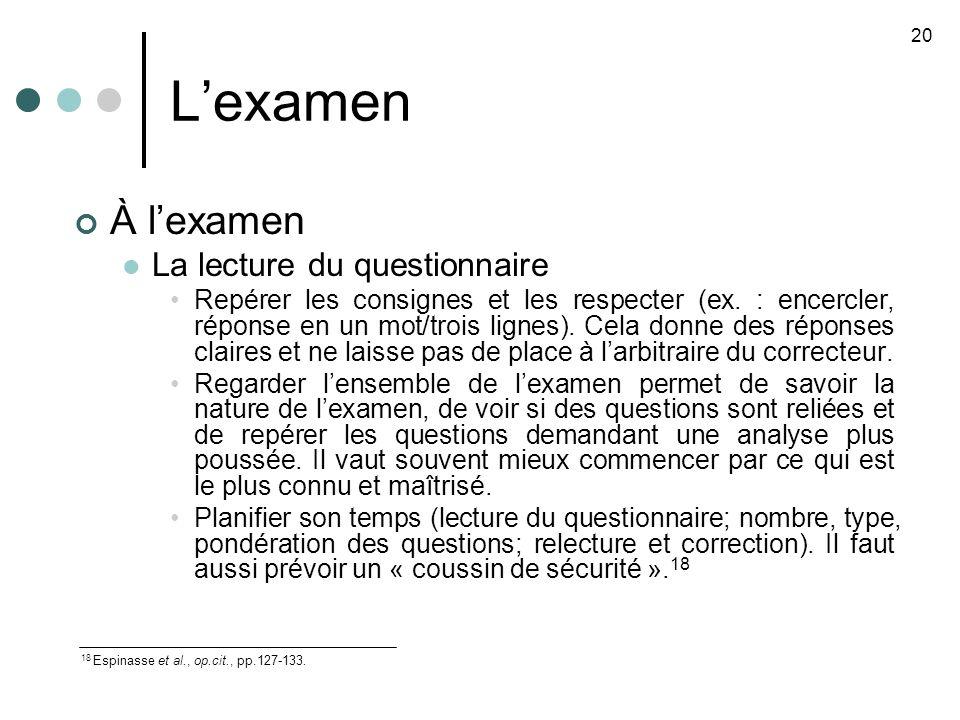 L'examen À l'examen La lecture du questionnaire
