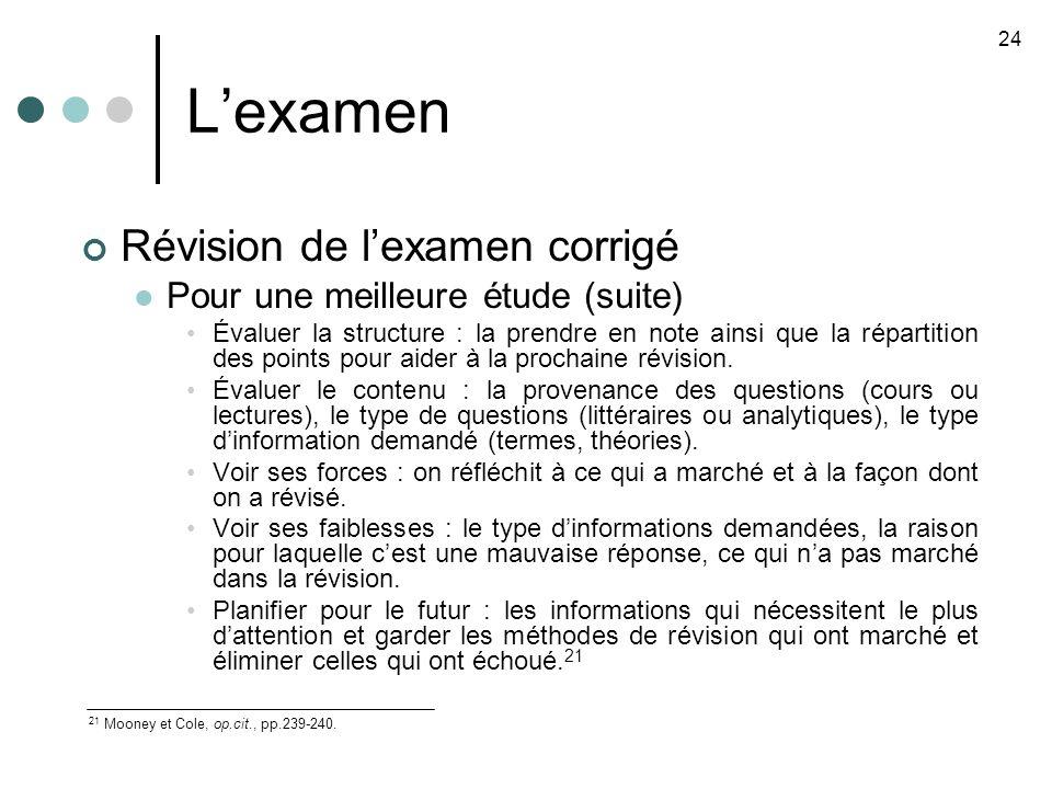 L'examen Révision de l'examen corrigé Pour une meilleure étude (suite)