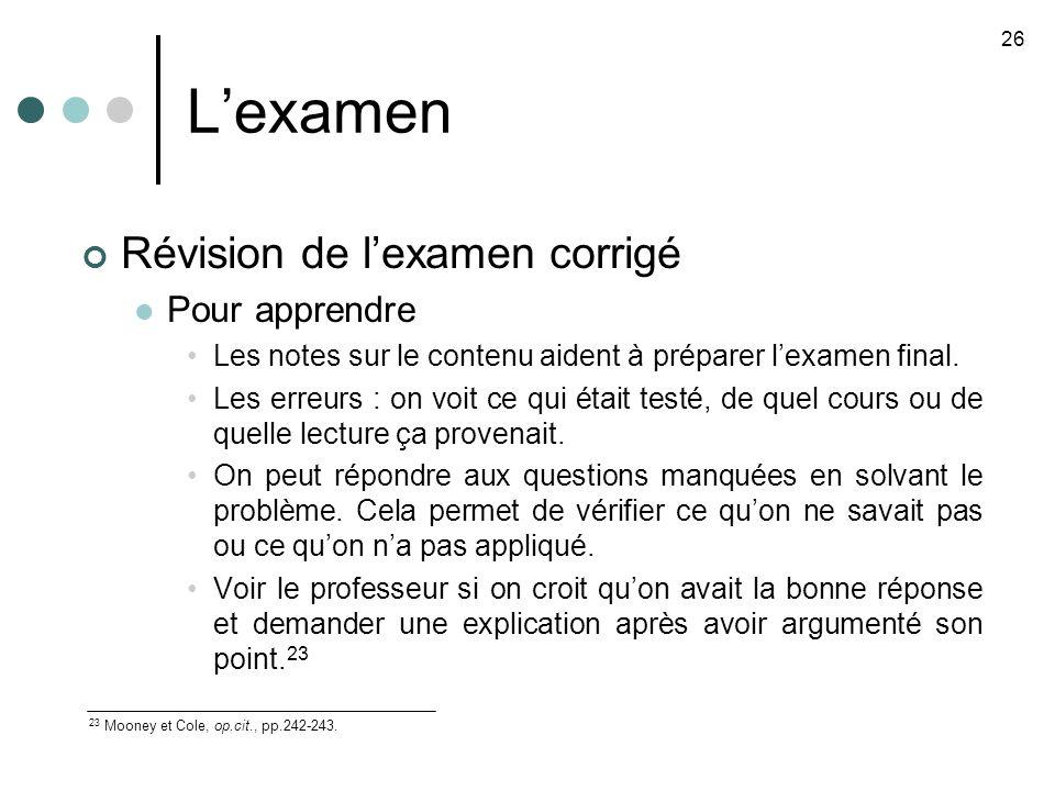 L'examen Révision de l'examen corrigé Pour apprendre