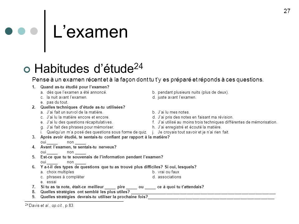 L'examen Habitudes d'étude24 27