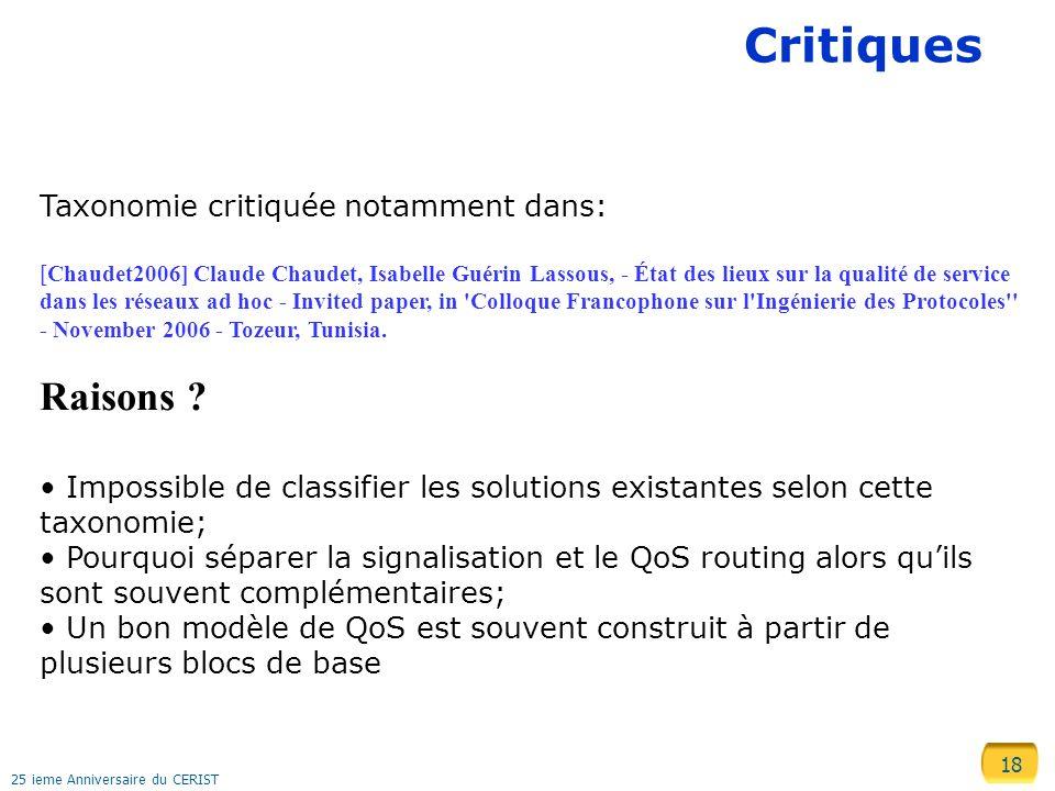 Critiques Raisons Taxonomie critiquée notamment dans: