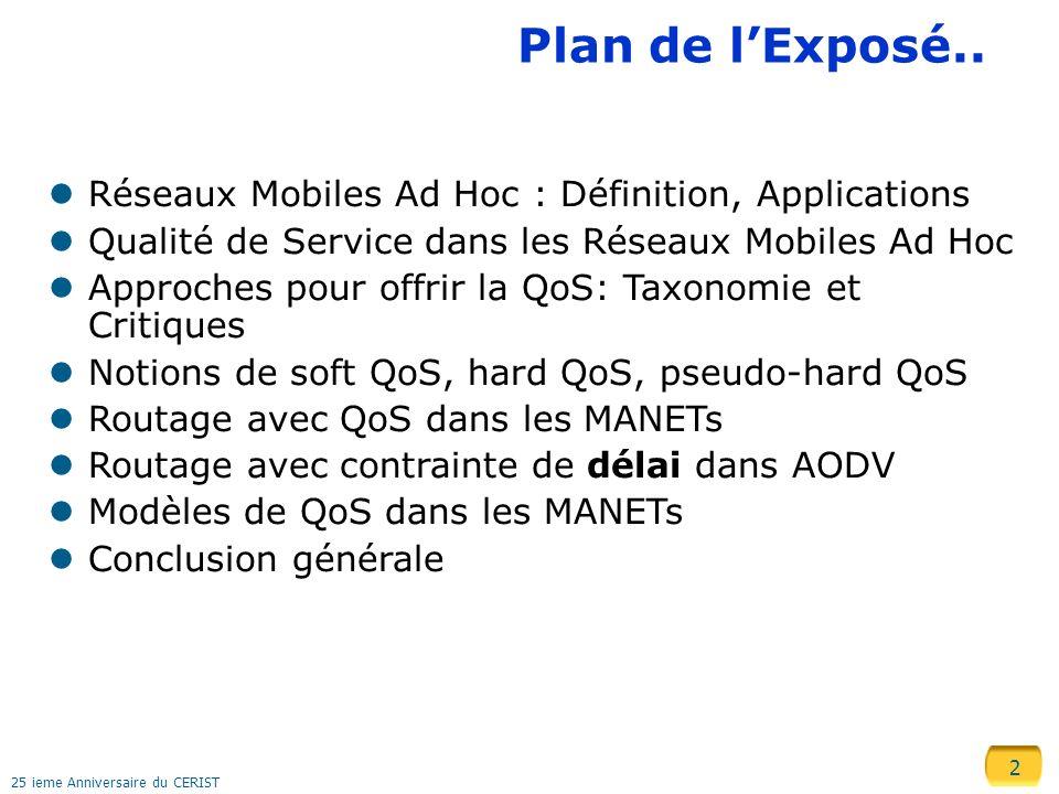 Plan de l'Exposé.. Réseaux Mobiles Ad Hoc : Définition, Applications