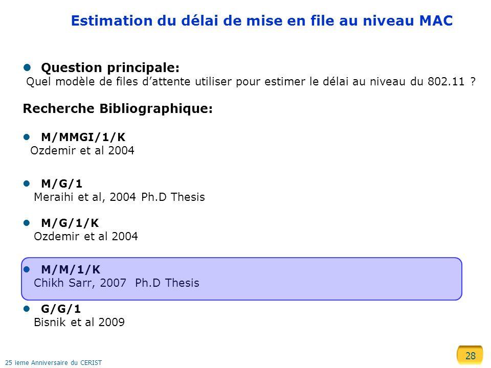 Estimation du délai de mise en file au niveau MAC