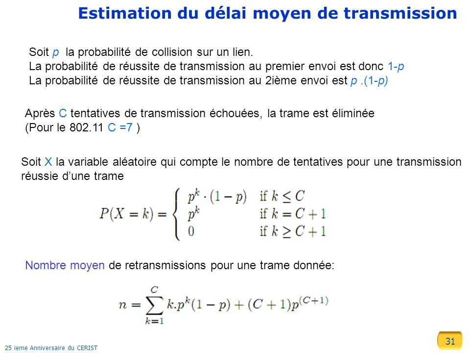 Estimation du délai moyen de transmission
