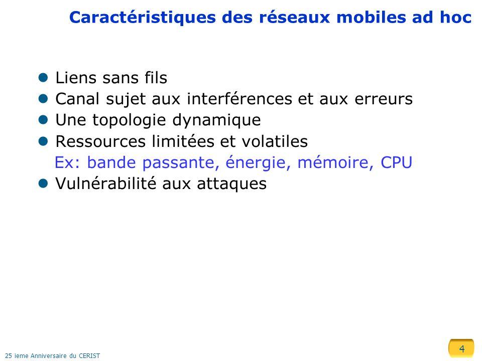 Caractéristiques des réseaux mobiles ad hoc