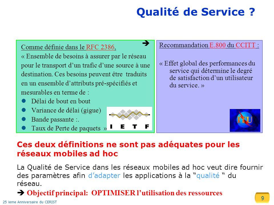 Qualité de Service  Recommandation E.800 du CCITT :
