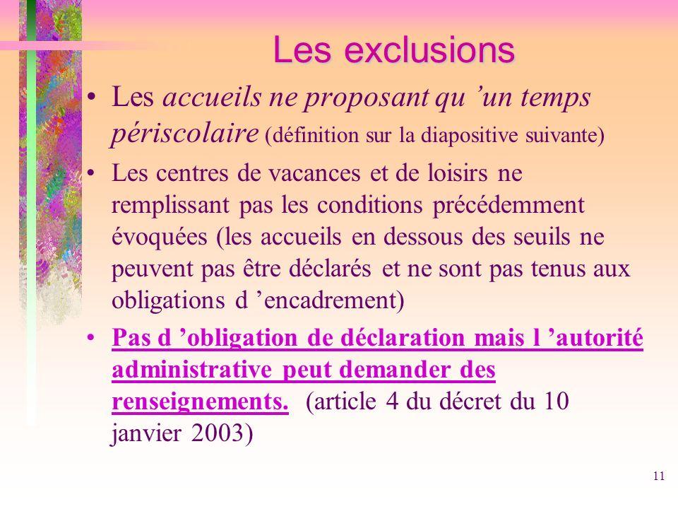 Les exclusionsLes accueils ne proposant qu 'un temps périscolaire (définition sur la diapositive suivante)