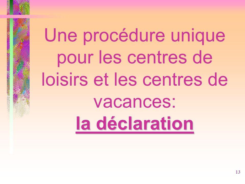 Une procédure unique pour les centres de loisirs et les centres de vacances: la déclaration