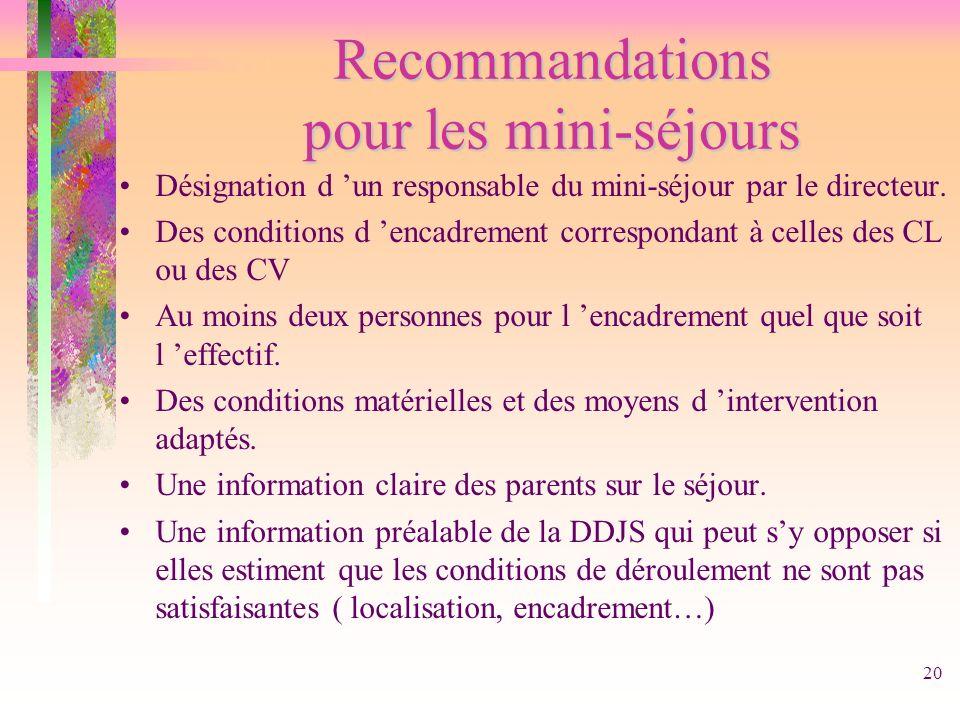 Recommandations pour les mini-séjours