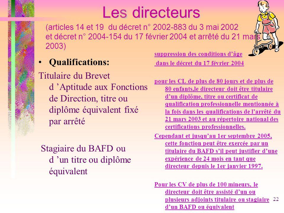 Les directeurs (articles 14 et 19 du décret n° 2002-883 du 3 mai 2002 et décret n° 2004-154 du 17 février 2004 et arrêté du 21 mars 2003)
