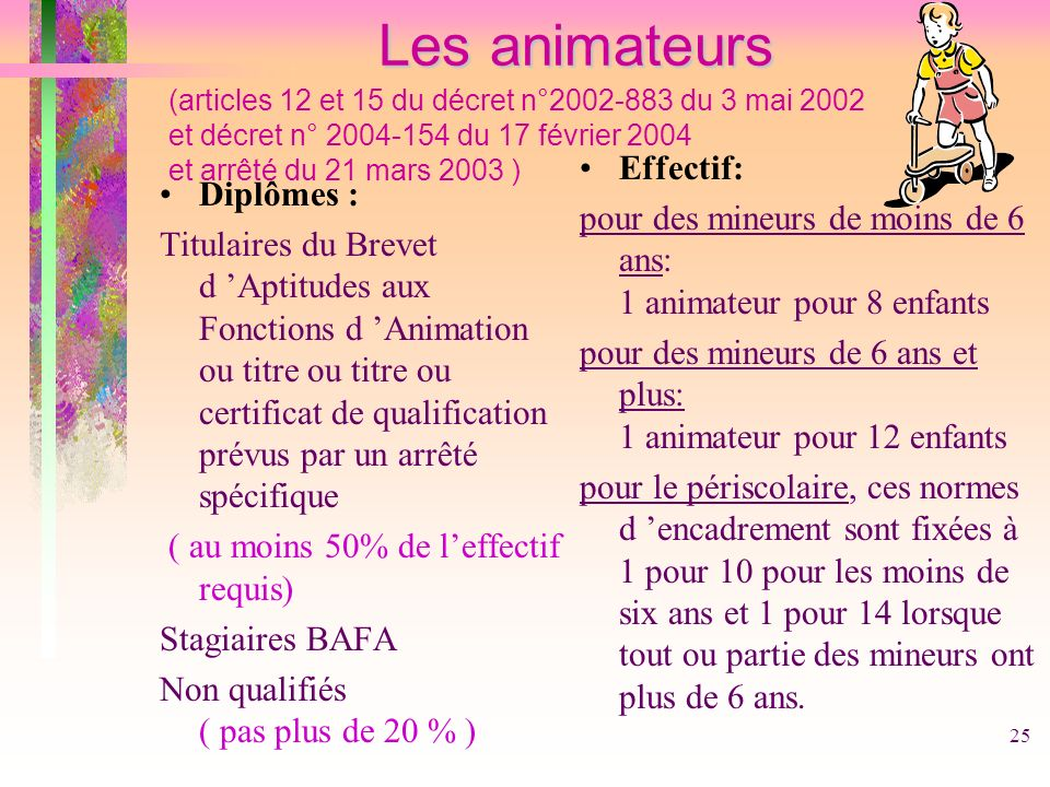 Les animateurs (articles 12 et 15 du décret n°2002-883 du 3 mai 2002 et décret n° 2004-154 du 17 février 2004 et arrêté du 21 mars 2003 )