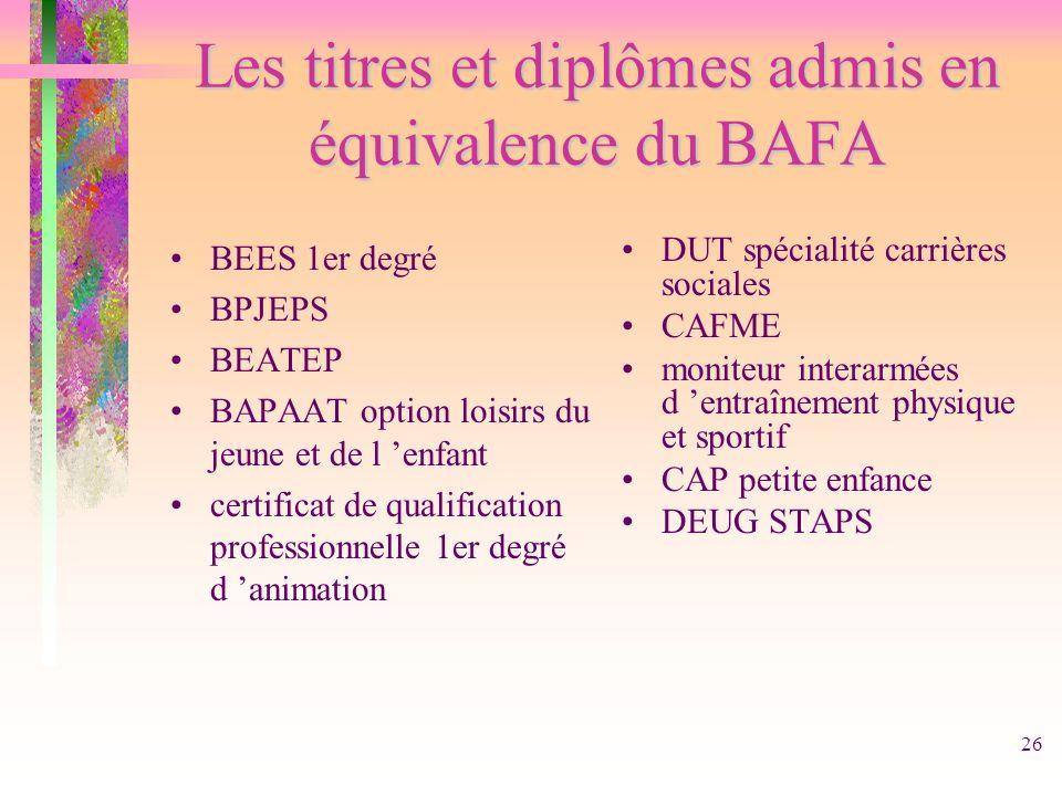 Les titres et diplômes admis en équivalence du BAFA