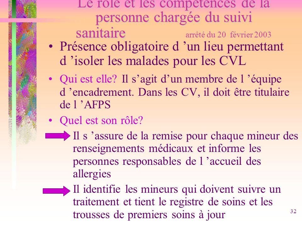 Le rôle et les compétences de la personne chargée du suivi sanitaire arrêté du 20 février 2003