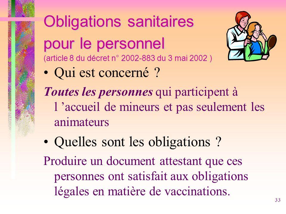Obligations sanitaires pour le personnel (article 8 du décret n° 2002-883 du 3 mai 2002 )