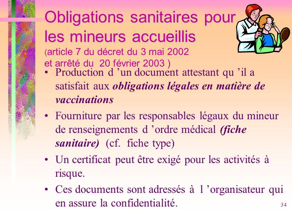 Obligations sanitaires pour les mineurs accueillis (article 7 du décret du 3 mai 2002 et arrêté du 20 février 2003 )