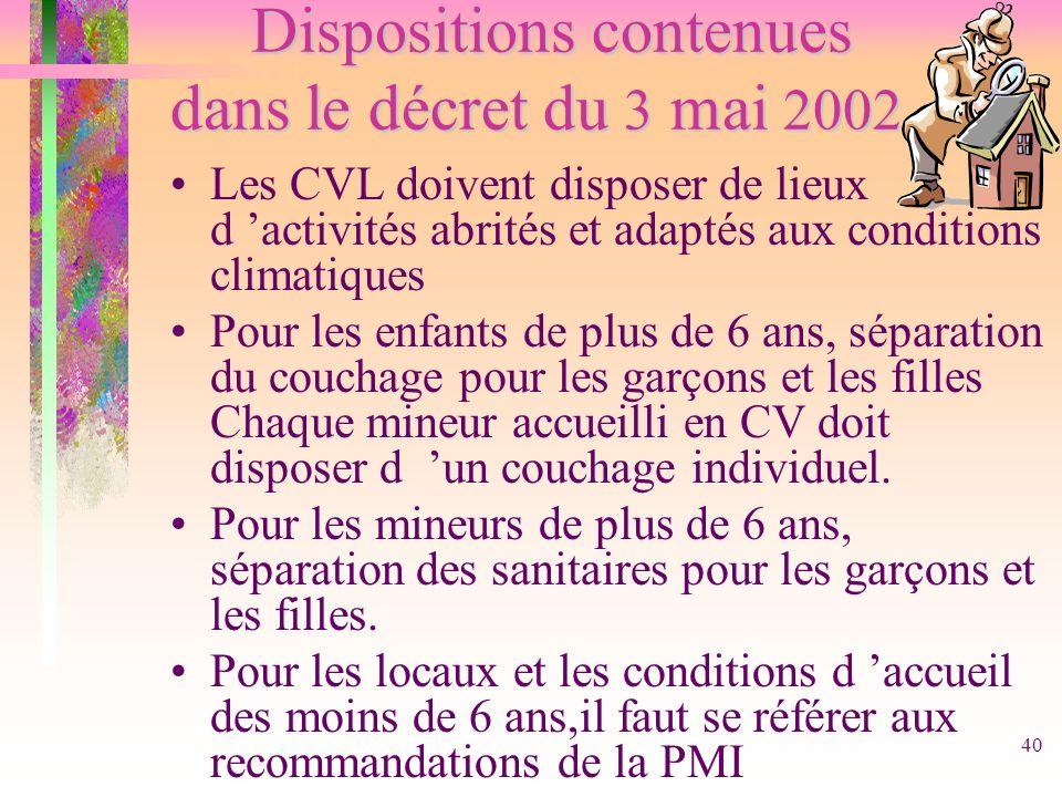 Dispositions contenues dans le décret du 3 mai 2002