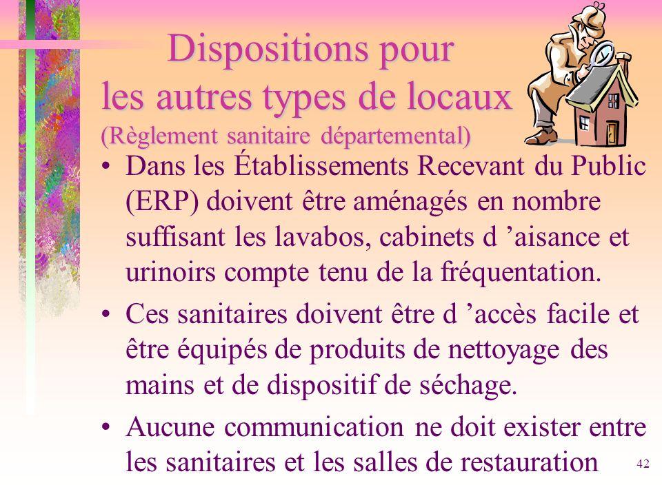 Dispositions pour les autres types de locaux (Règlement sanitaire départemental)