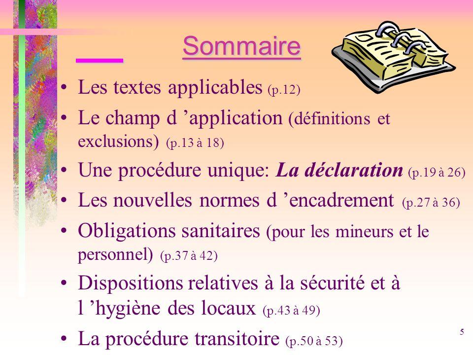 Sommaire Les textes applicables (p.12)