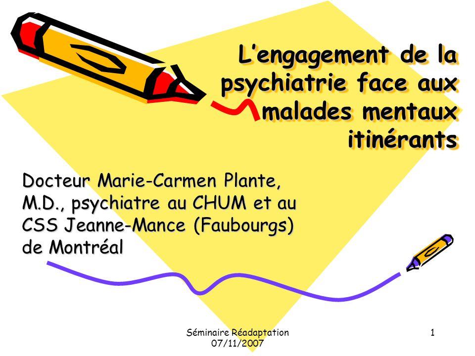 L'engagement de la psychiatrie face aux malades mentaux itinérants