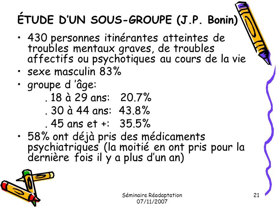 ÉTUDE D'UN SOUS-GROUPE (J.P. Bonin)