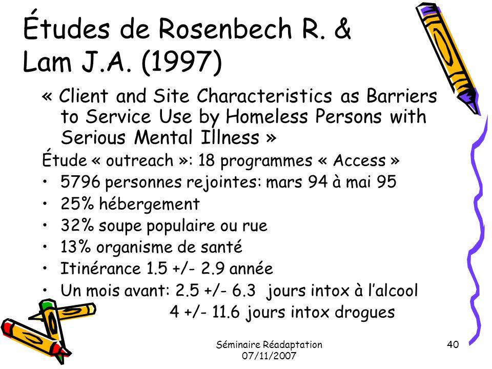 Études de Rosenbech R. & Lam J.A. (1997)