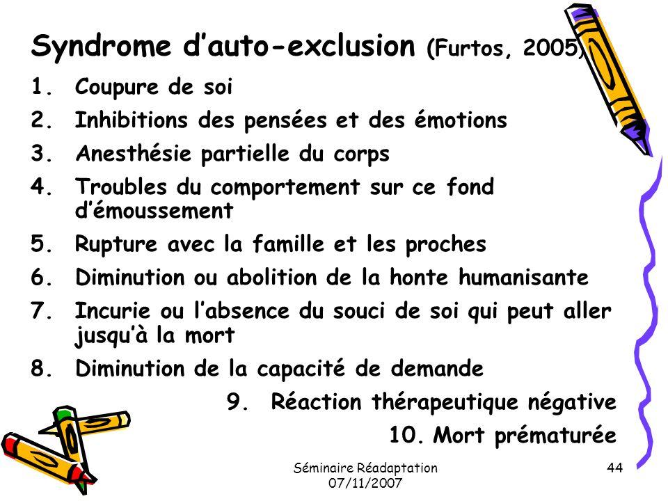 Syndrome d'auto-exclusion (Furtos, 2005)