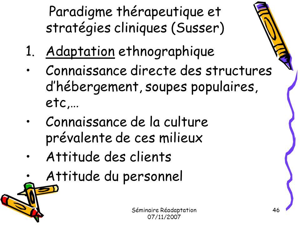 Paradigme thérapeutique et stratégies cliniques (Susser)
