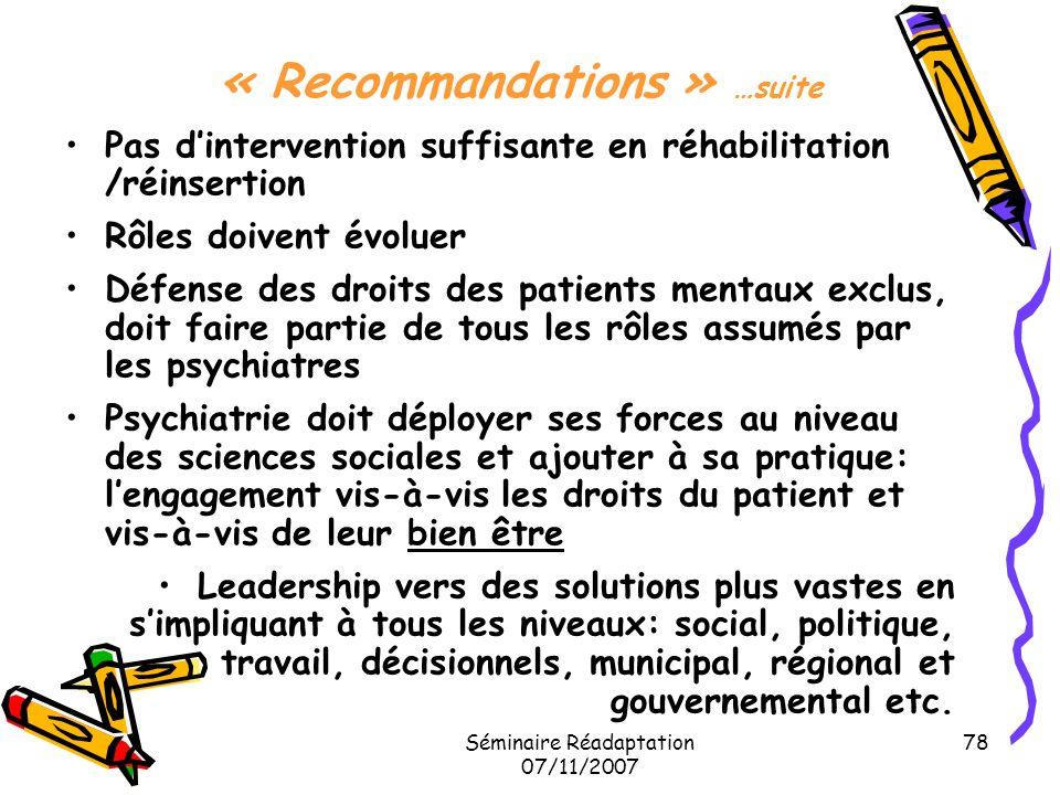 « Recommandations » …suite