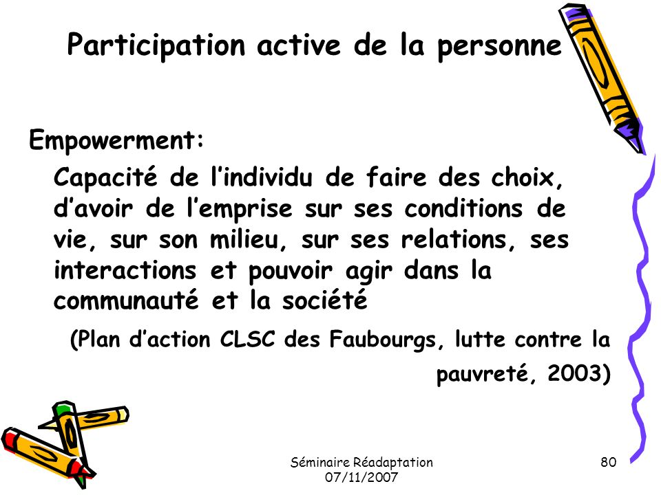 Participation active de la personne
