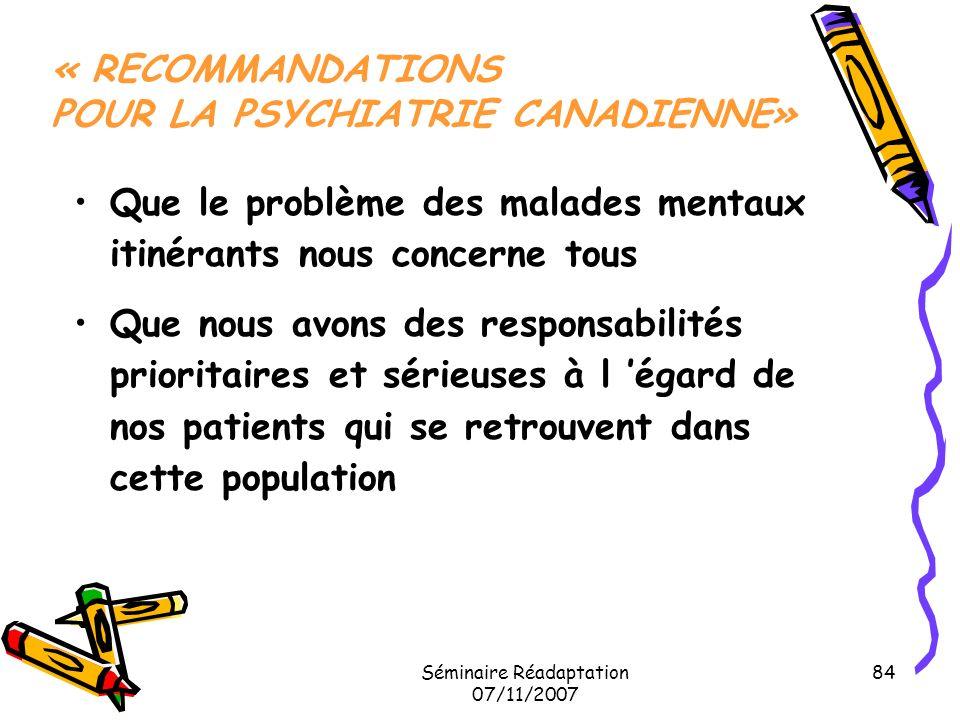 « RECOMMANDATIONS POUR LA PSYCHIATRIE CANADIENNE»