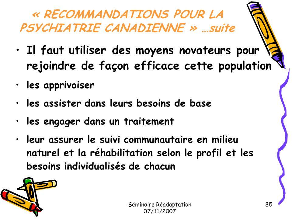« RECOMMANDATIONS POUR LA PSYCHIATRIE CANADIENNE » …suite