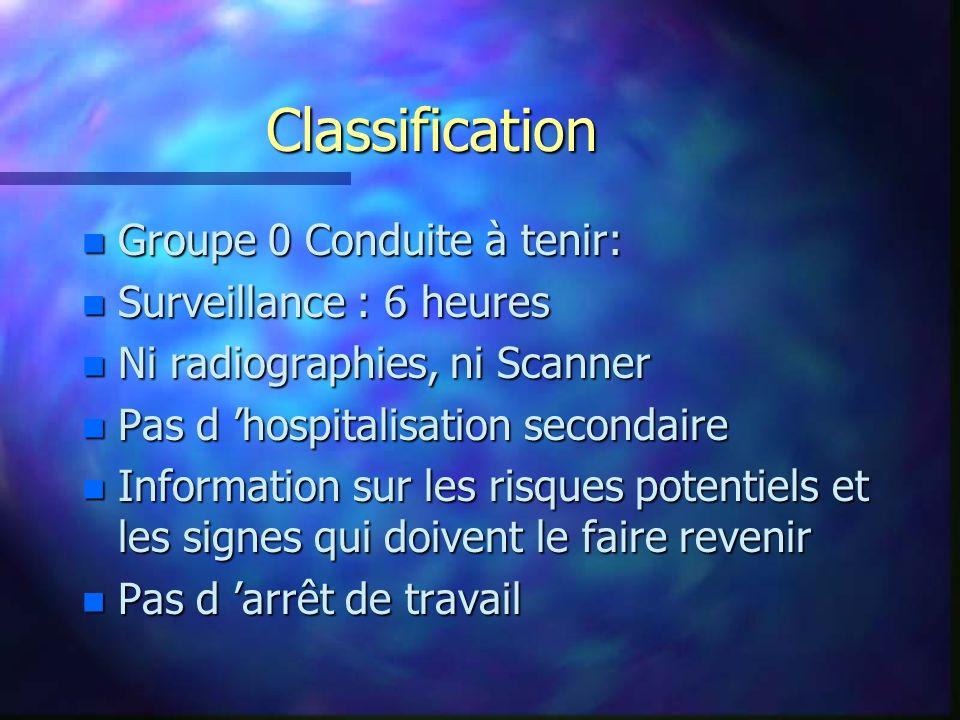 Classification Groupe 0 Conduite à tenir: Surveillance : 6 heures