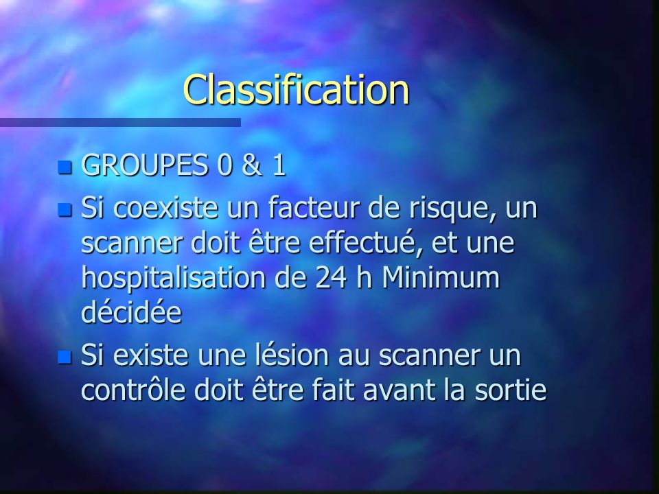 Classification GROUPES 0 & 1